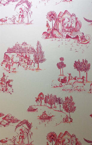 Zanskar Wallpaper in Pink and Gold by Matthew Williamson for Osborne & Little