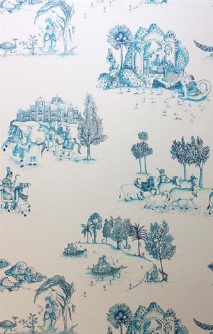 Zanskar Wallpaper in Teal and Gold by Matthew Williamson for Osborne & Little