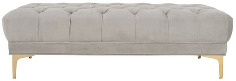 Zarya Tufted Rectangular Bench in Grey and Brass