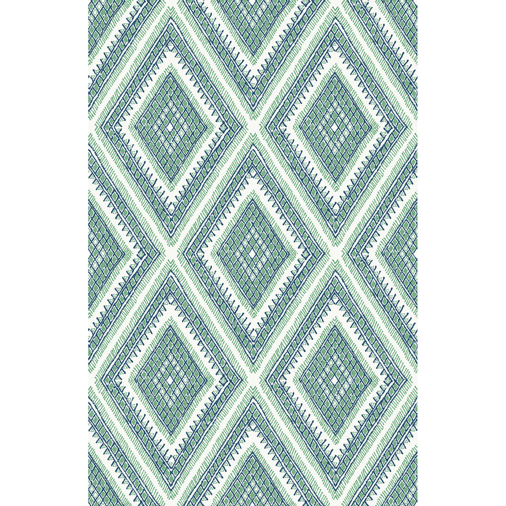 Zaya Tribal Diamonds Wallpaper Wallpaper in Green from the Pacifica Collection by Brewster Home Fashions