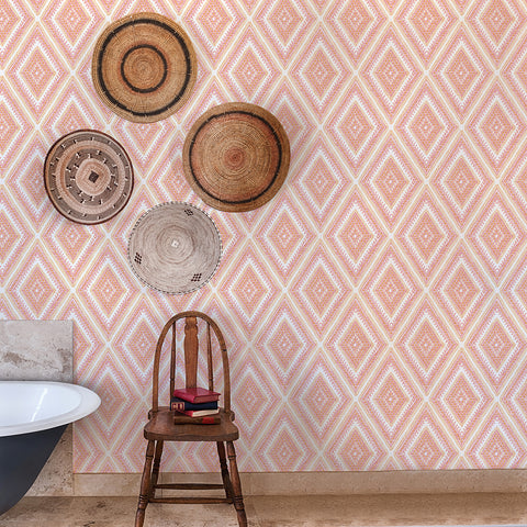 Zaya Tribal Diamonds Wallpaper Wallpaper in Orange from the Pacifica Collection by Brewster Home Fashions
