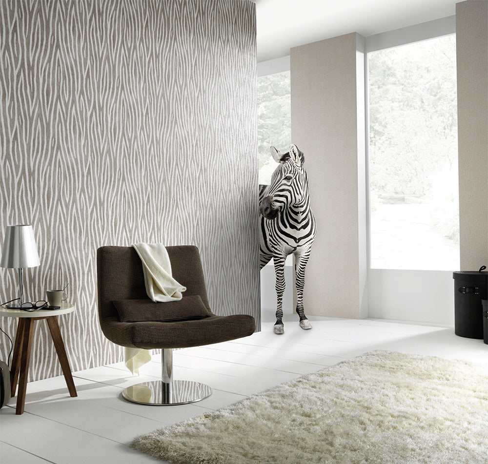 Zebra Stripes Wallpaper in Grey and Black design by BD Wall – BURKE ...