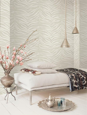 Zebra Wallpaper in Grey from the Watercolor Florals Collection by Mayflower Wallpaper