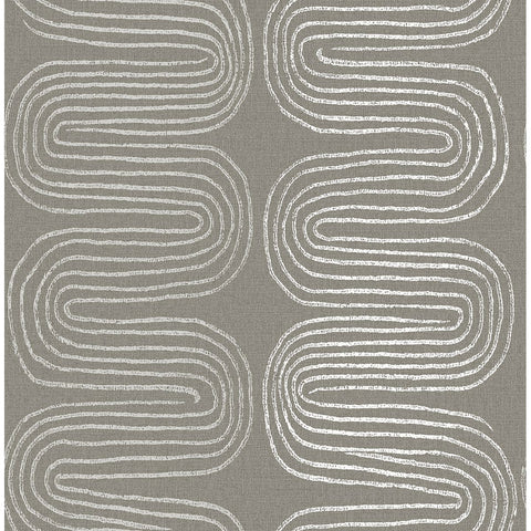 Zephyr Abstract Stripe Wallpaper in Brown from the Celadon Collection by Brewster Home Fashions