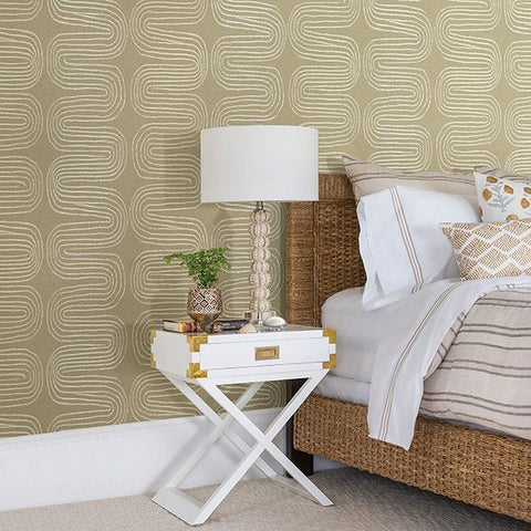 Zephyr Abstract Stripe Wallpaper in Honey from the Celadon Collection by Brewster Home Fashions