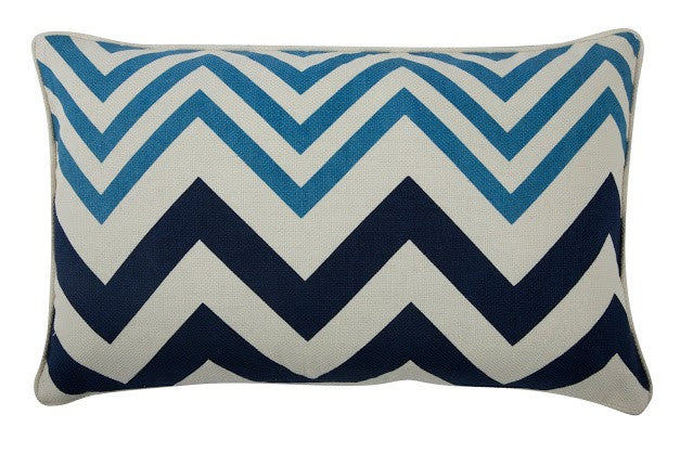 "Zig Zag 12"" x 20"" Reversible Pillow in Azure design by Thomas Paul"