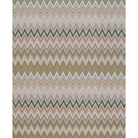 Zig Zag Multicolore Wallpaper in Blush, Jade, and Grey by Missoni Home for York Wallcoverings
