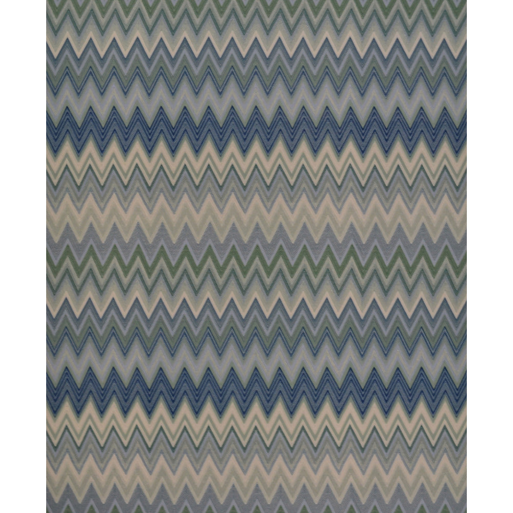Zig Zag Multicolore Wallpaper in Cream, Mint, and Navy by Missoni Home for York Wallcoverings