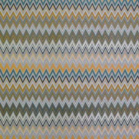Zig Zag Multicolore Wallpaper in Silver, Peacock, and Saffron by Missoni Home for York Wallcoverings