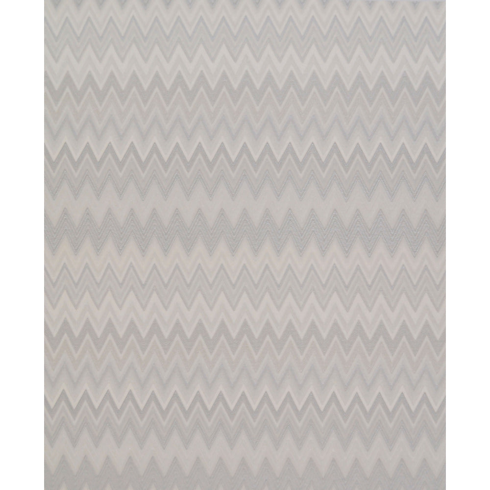 Zig Zag Multicolore Wallpaper in Silvery, Grey, and Cream by Missoni Home for York Wallcoverings