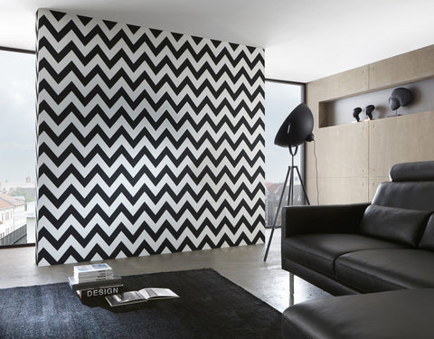 Zigzag Wallpaper in Black and White design by BD Wall