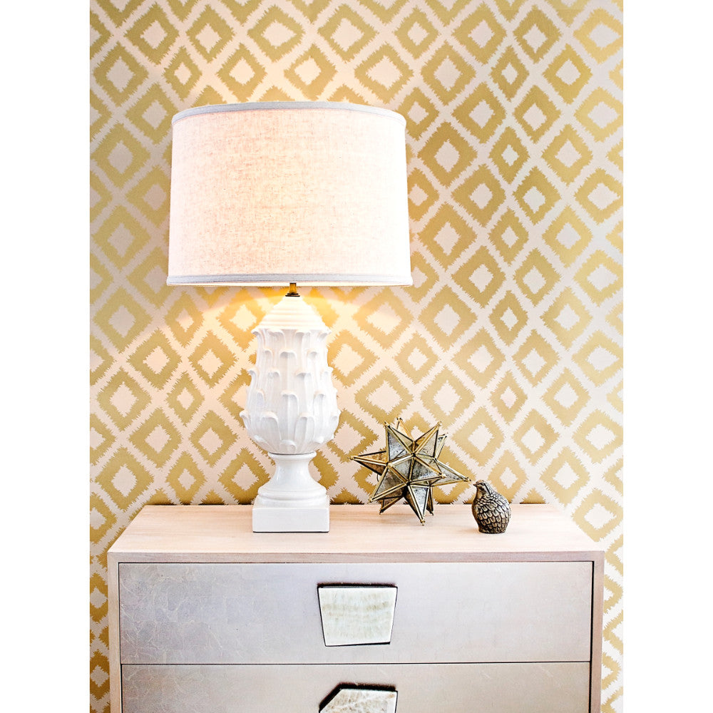 Zigzag Wallpaper in Metallic Gold and Oatmeal by Stacey Day