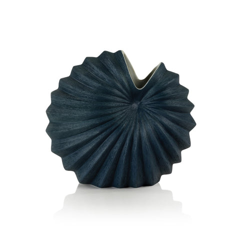 Blue Palm Shell Vase
