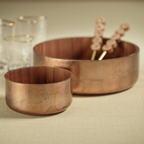 Acacia with Bronze Foil Bowl in Various Sizes