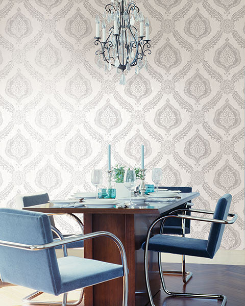 Zoraya Silver Damask Wallpaper From The Alhambra Collection By