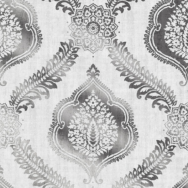 Sample Zoraya Silver Damask Wallpaper from the Alhambra Collection by Brewster Home Fashions