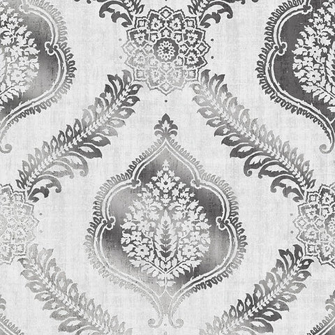 Zoraya Silver Damask Wallpaper from the Alhambra Collection by Brewster Home Fashions