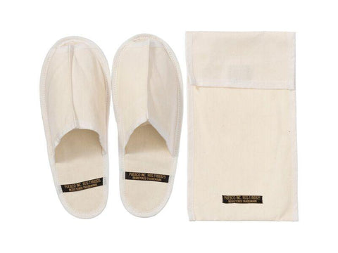 Waxed Canvas Portable Slipper - Large - Off White