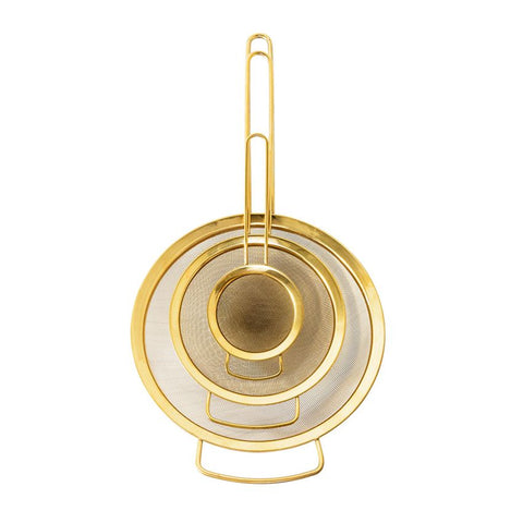 Set of 3 Stainless Steel Strainers in Gold Finish design by BD Edition