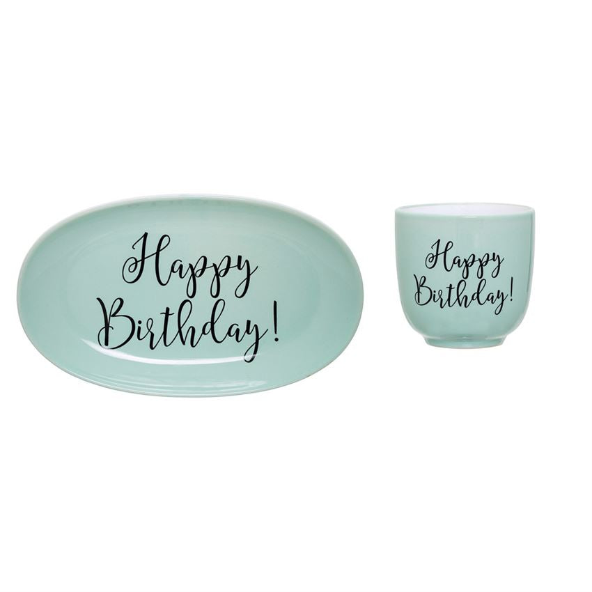 Set of 2 Summer Stoneware Plate w/ Cup in Green design by BD Mini