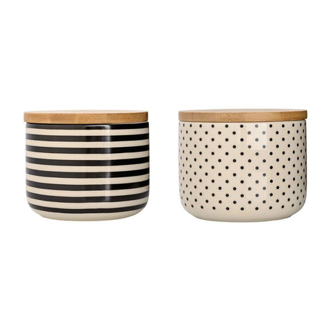 Set of 2 Off White & Black Jar w/ Wood Lids in 2 Styles design by BD Edition