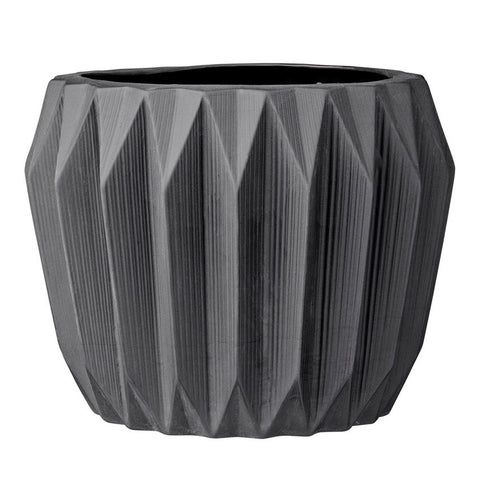 Stoneware Black Fluted Flower Pot design by BD Edition