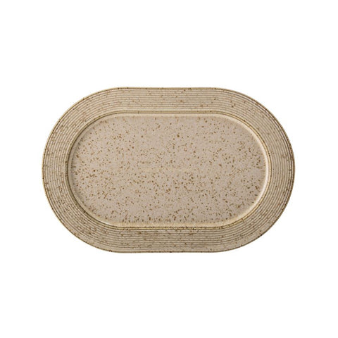 Stoneware Platter - Beige Speckled Finish