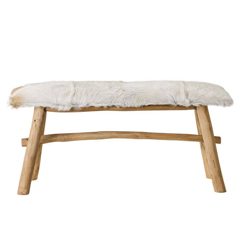 Goat Fur Covered Wood Bench design by BD Edition