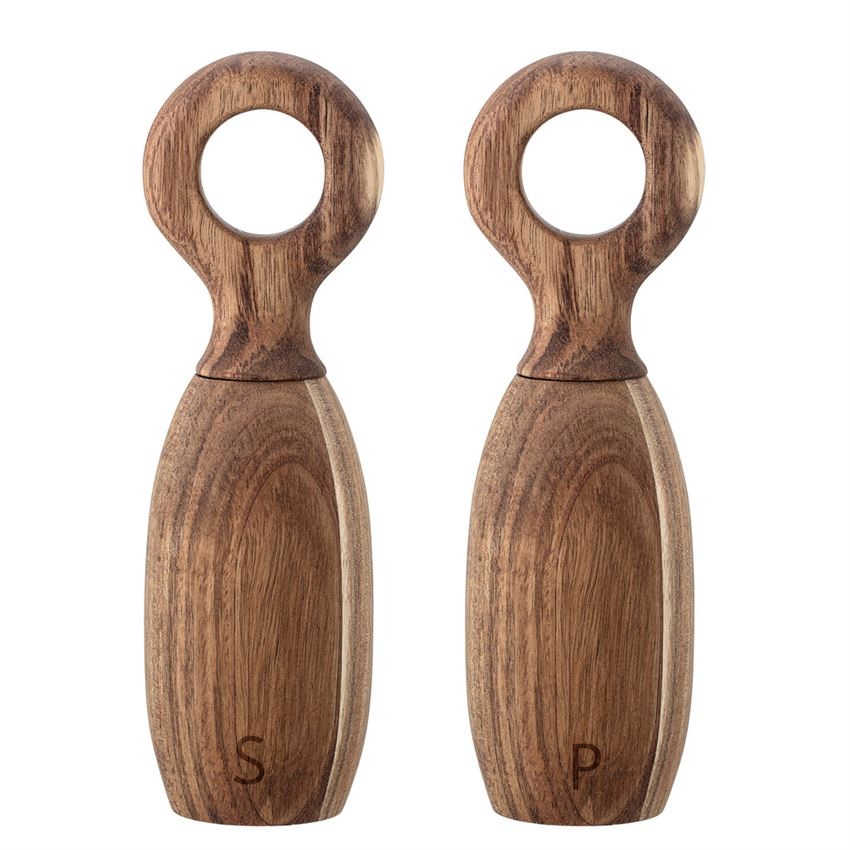 Set of 2 Acacia Wood Salt & Pepper Mill design by BD Edition