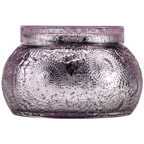 Chawan Bowl 2 Wick Embossed Glass Candle in Japanese Plum Bloom design by Voluspa