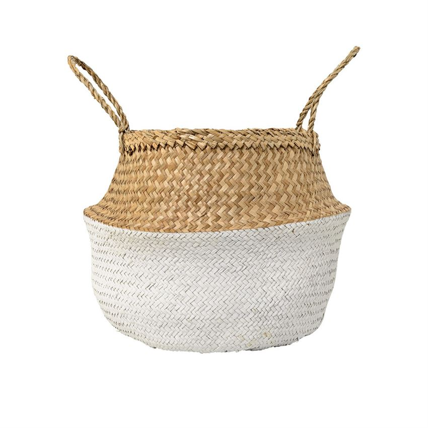 Seagrass Basket w/ Handles in Natural & White design by BD Edition