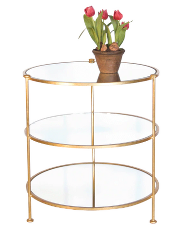 Three Tier Gold Leaf Table with Mirrored Shelves