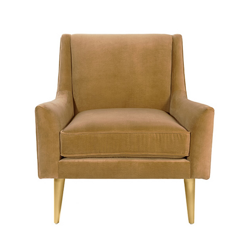 Modern Lounge Chair with Brass Legs in Various Colors