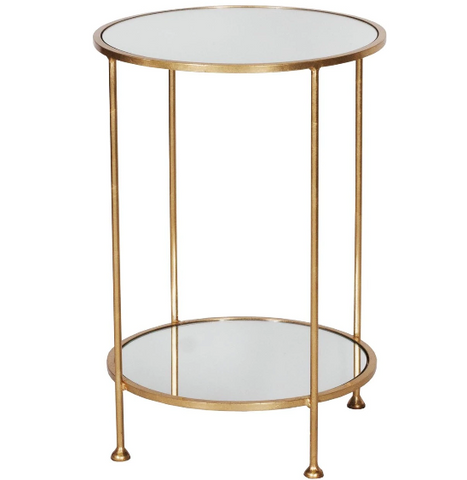 2 Tier Gold Leafed Side Table with Plain Mirror Tops