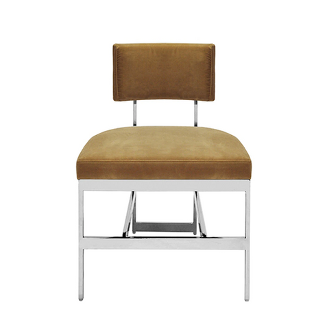 Modern Dining Chair with Nickel Base and Cushion in Various Colors