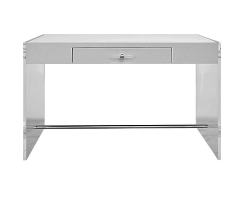 Acrylic Side Panel Desk with Matte White Lacquer Top