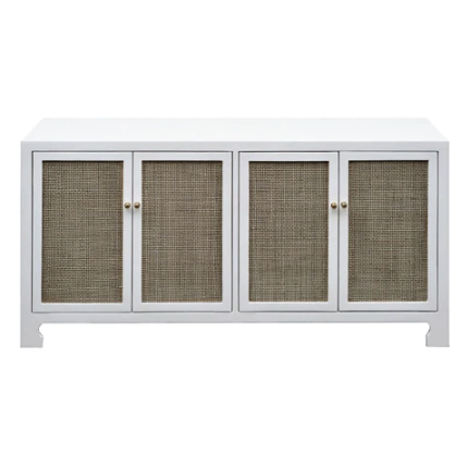 Four Door Cane Cabinet with Brass Hardware in Various Colors