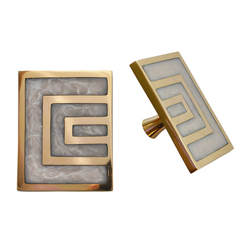 Pair of Geometric Brass Knobs with Inset Resin in Various Colors