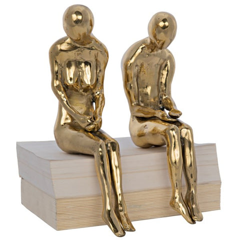 Large Irao Couple Statue in Brass by Noir