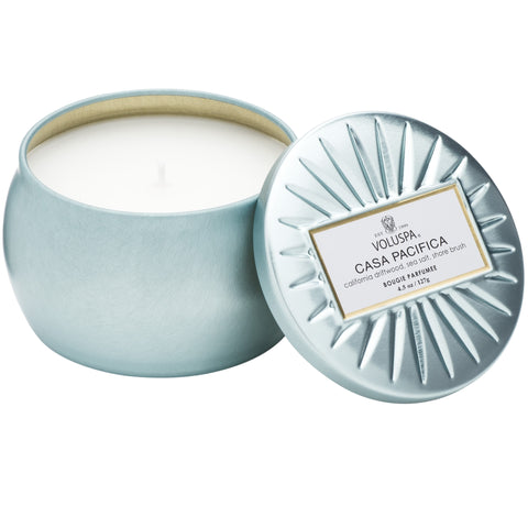 Petite Decorative Tin Candle in Casa Pacifica design by Voluspa
