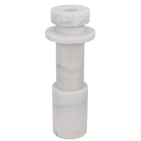 Shine Candle Holder in White Stone by Noir
