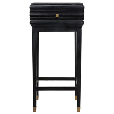 Kitame Side Table w/ Drawer in Charcoal Black