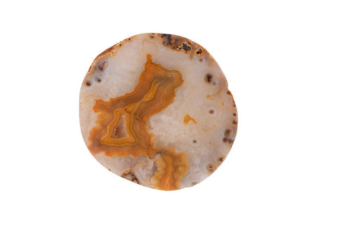 Set of 4 Round Agate Stone Coasters in Apricot design by BD Edition