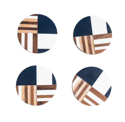 Set of 4 Round Resin & Wood Geometric Coasters design by BD Edition