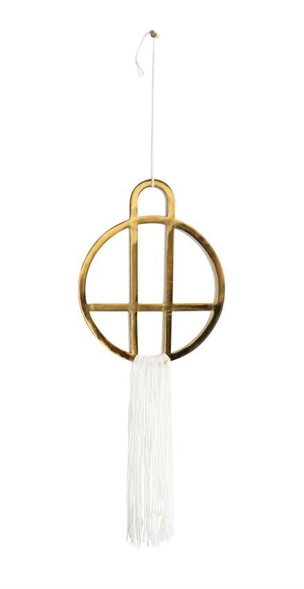 Metal Wall Decor w/ Cream Cotton Fringe in Brass Finish design by BD Edition