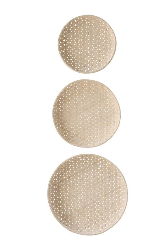 Set of 3 Round Woven Wood Baskets