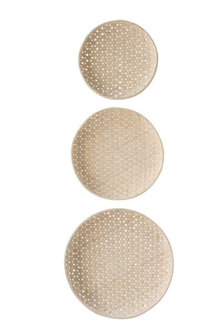 Set of 3 Round Woven Wood Baskets design by BD Edition