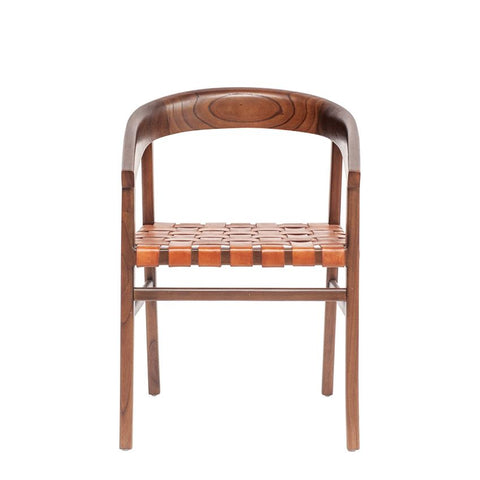 Cedar Wood & Woven Leather Chair