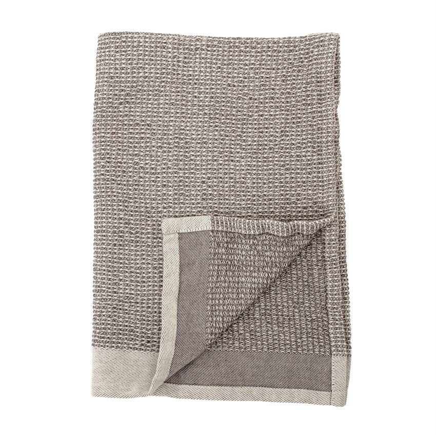 Set Of 2 Cotton Waffle Weave Kitchen Towels In Grey Burke Decor