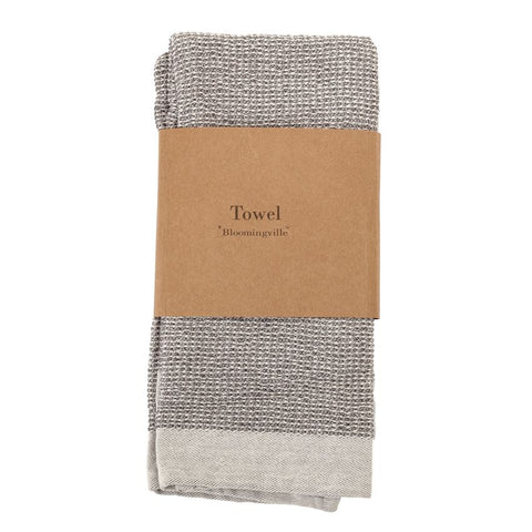 Set of 2 Cotton Waffle Weave Kitchen Towels in Grey